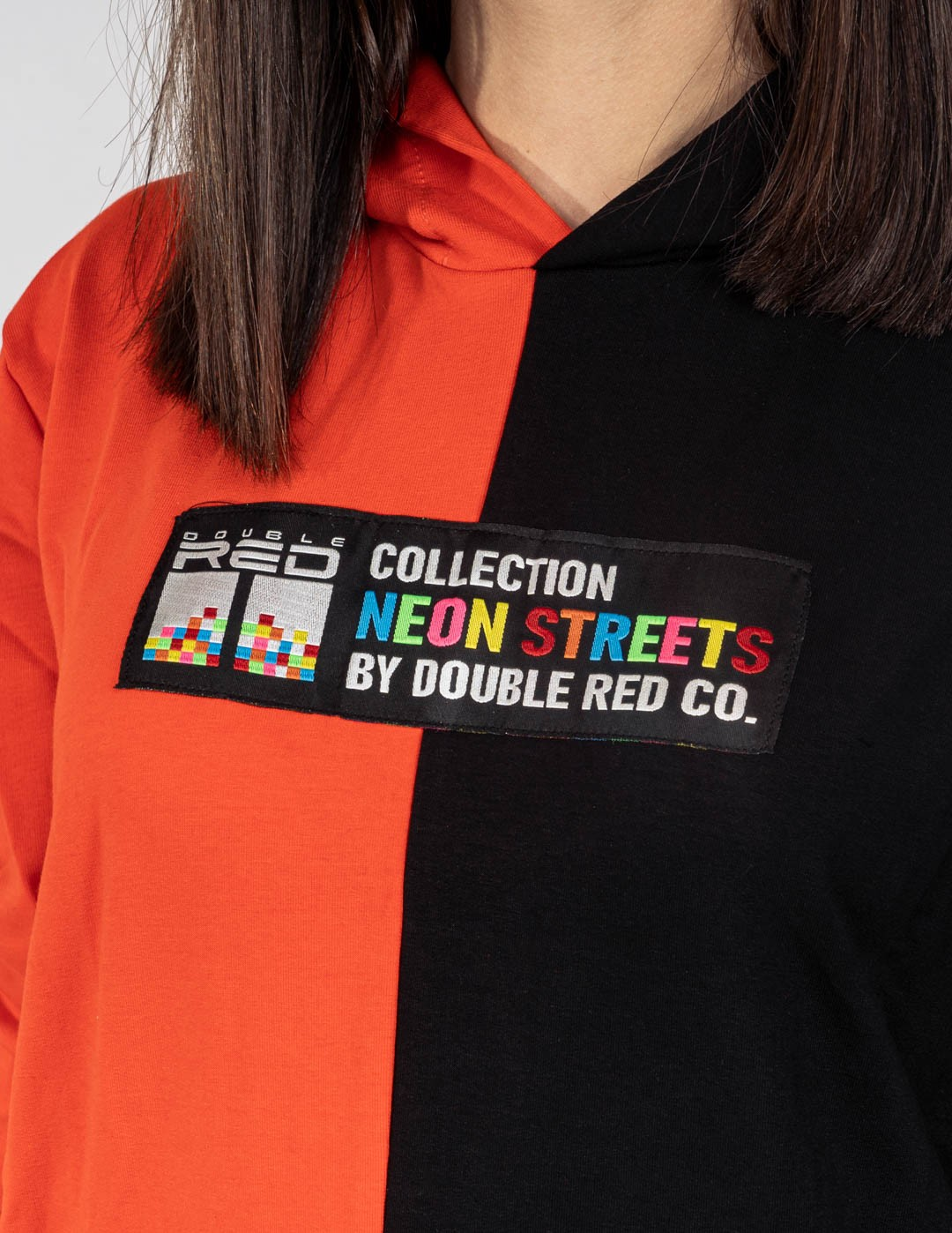 Hoodie DOUBLE FACE NEON Streets Collection Black/Orange