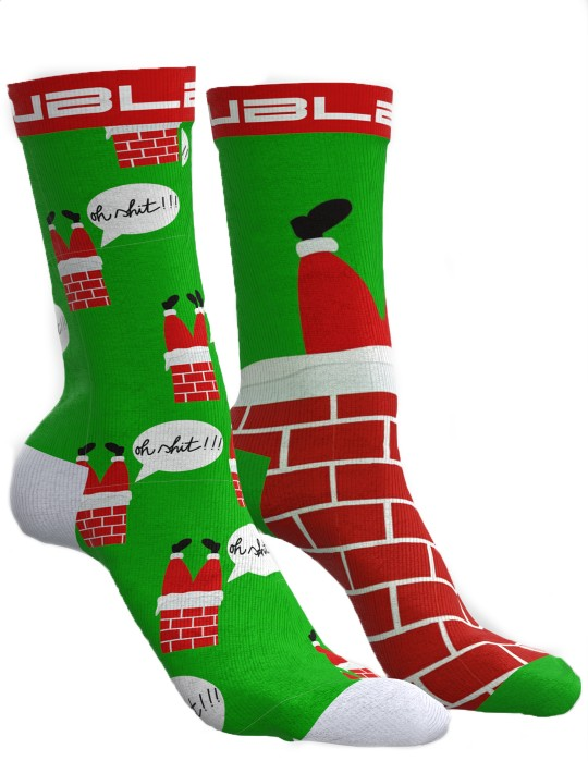 DOUBLE FUN Socks Santa In The House