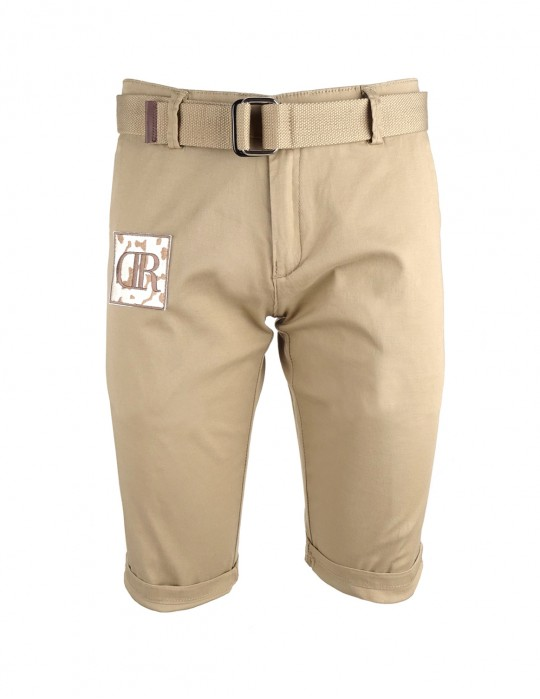 Limited Beige Patch Bermuda Shorts