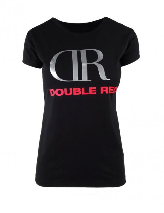DR W Black T-shirt Big Silver/Red Logo