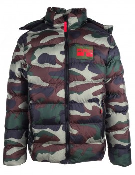 DR M Quilted Jacket Life Has No Reprise Green Camo
