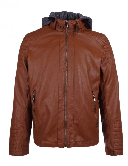 Faux Leather Hooded Biker Jacket Camel