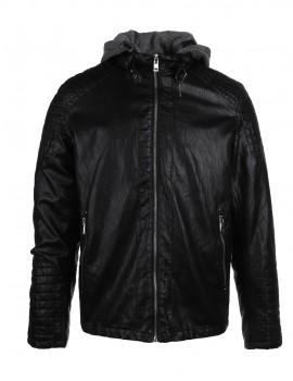 DR Faux Leather Hooded Biker Jacket Black