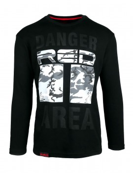 DR M Long Sleeve T-Shirt Danger Red Area Black Grey Camo