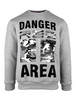 DR M Sweatshirt Danger Area B&W Logo Grey
