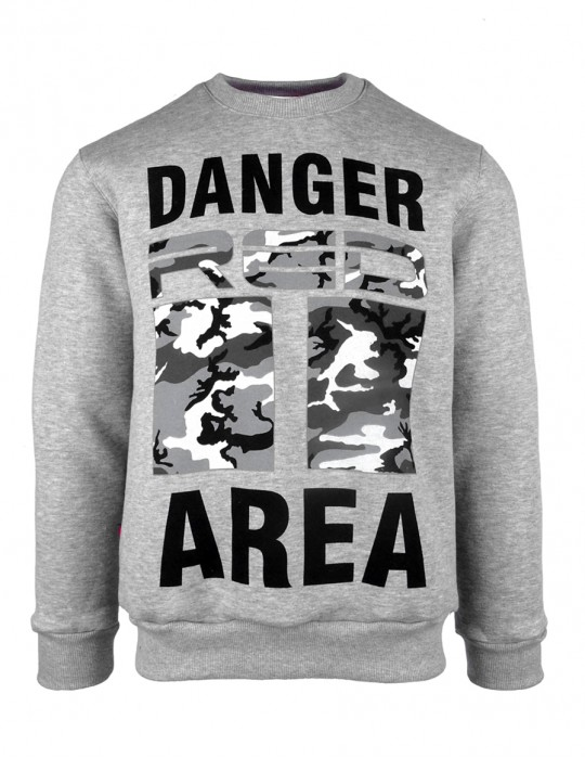 Sweatshirt Danger Area B&W Logo Grey
