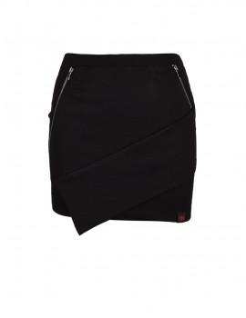 DR Babe Short Asymmetric Skirt Black