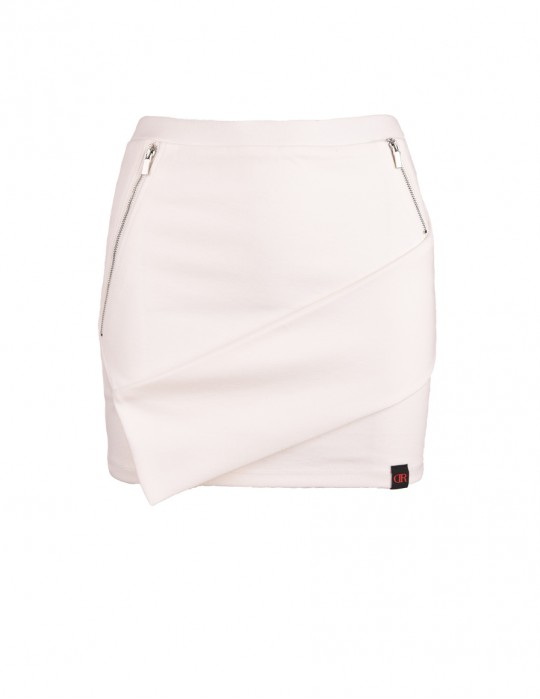 DR Babe Short Asymmetric Skirt White