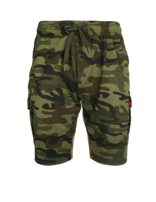 Woodland Sweat Shorts Camo Dark Green
