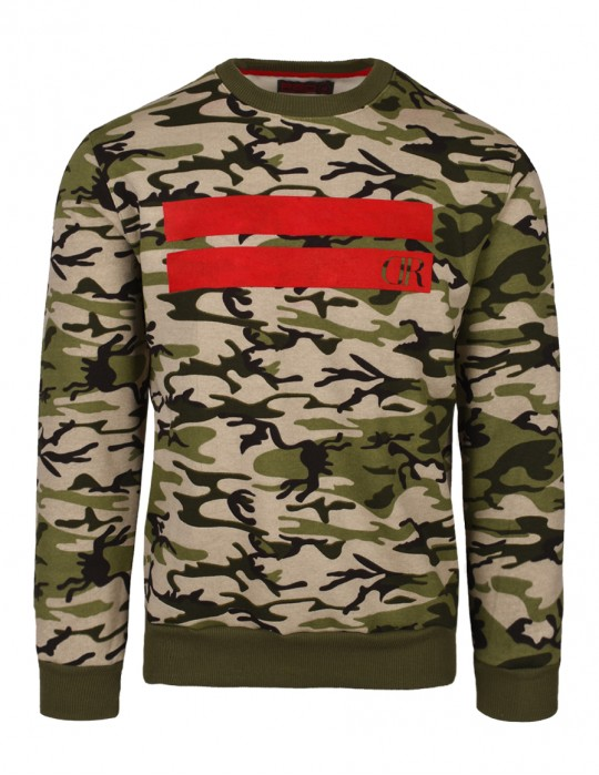 Sweatshirt Stripes Green Camo