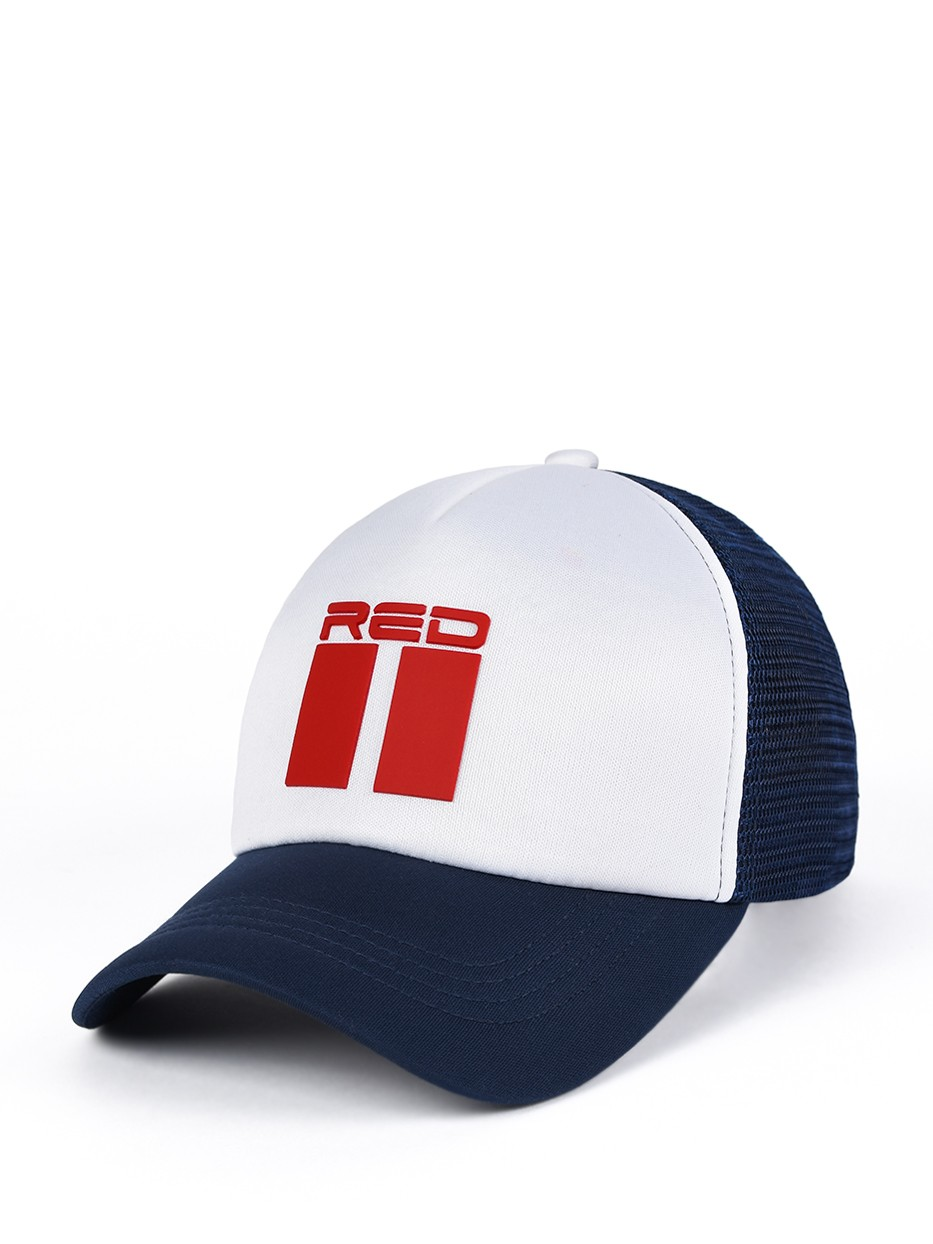 DOUBLE RED 3D Blue/White Trucker Cap