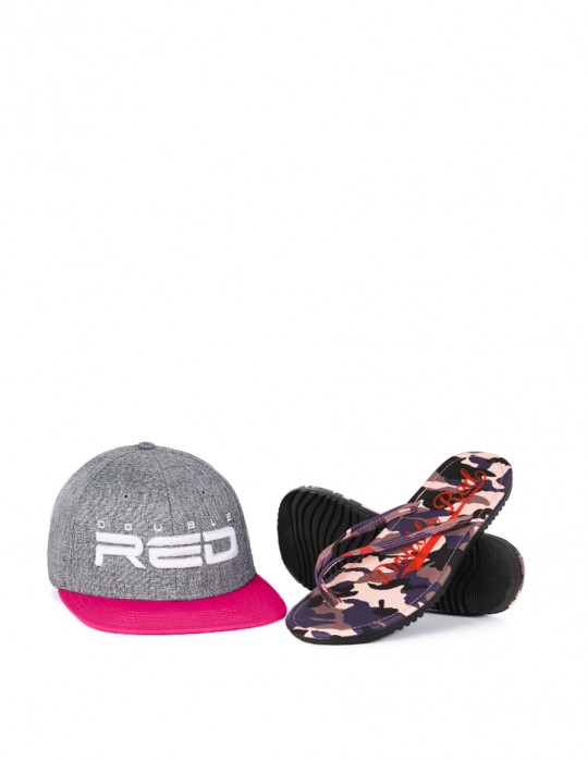 Slippers Camo Salmon + STREETGIRL DOUBLE RED Snapback Grey/Pink