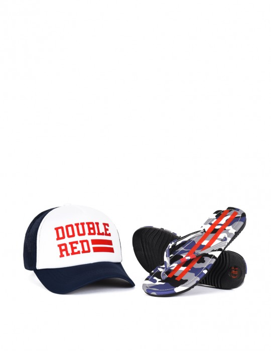 Slippers Camo Shark + Trucker Cap UNIVERSITY OF RED Blue/White