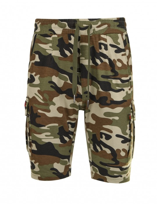 DR M Woodland Sweat Shorts Camo Classic Green