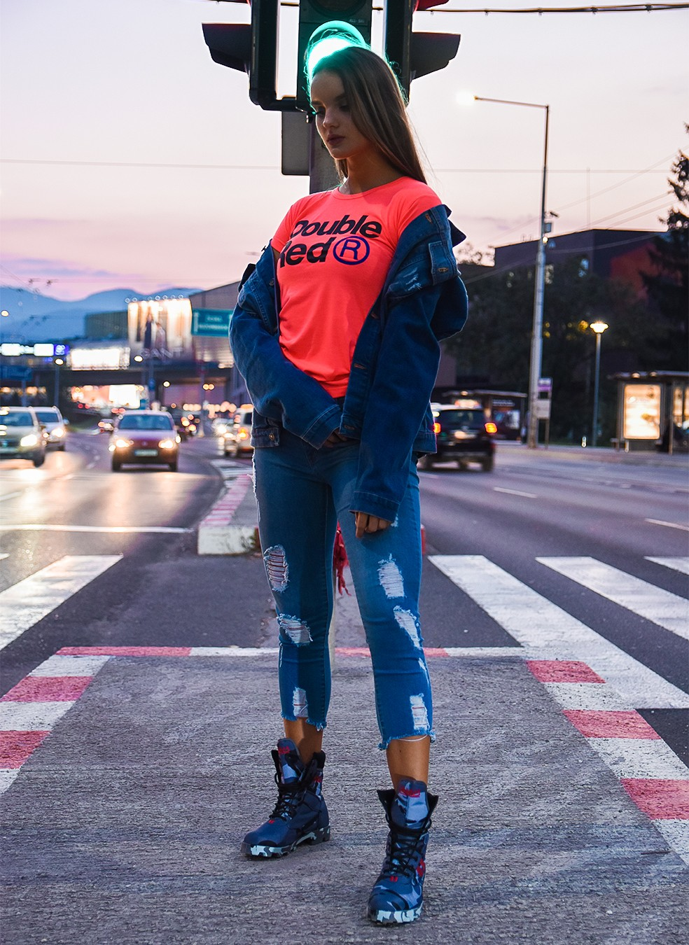 DOUBLE RED Trademark NEON T-shirt Pink