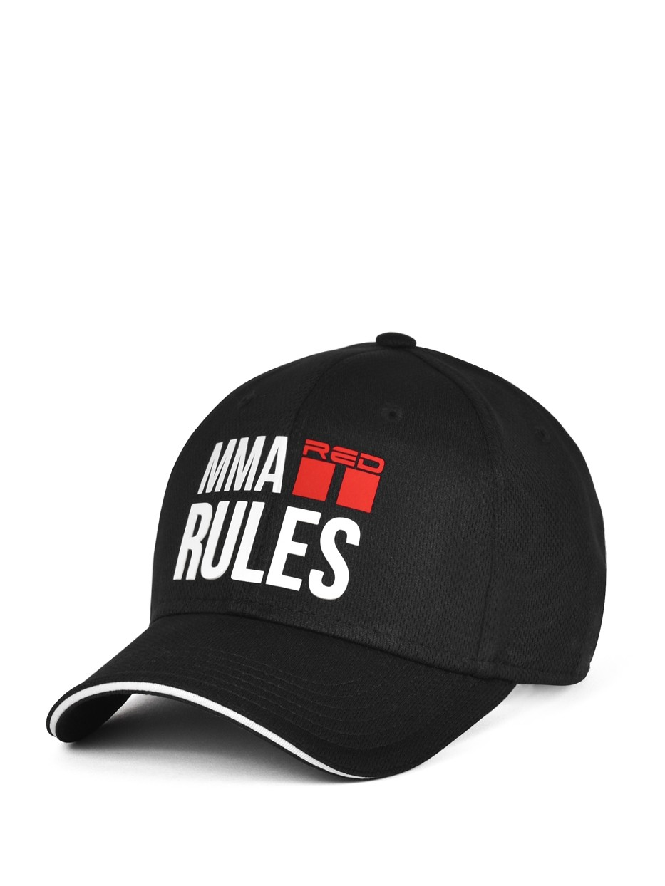 MMA RULES Black/White Cap