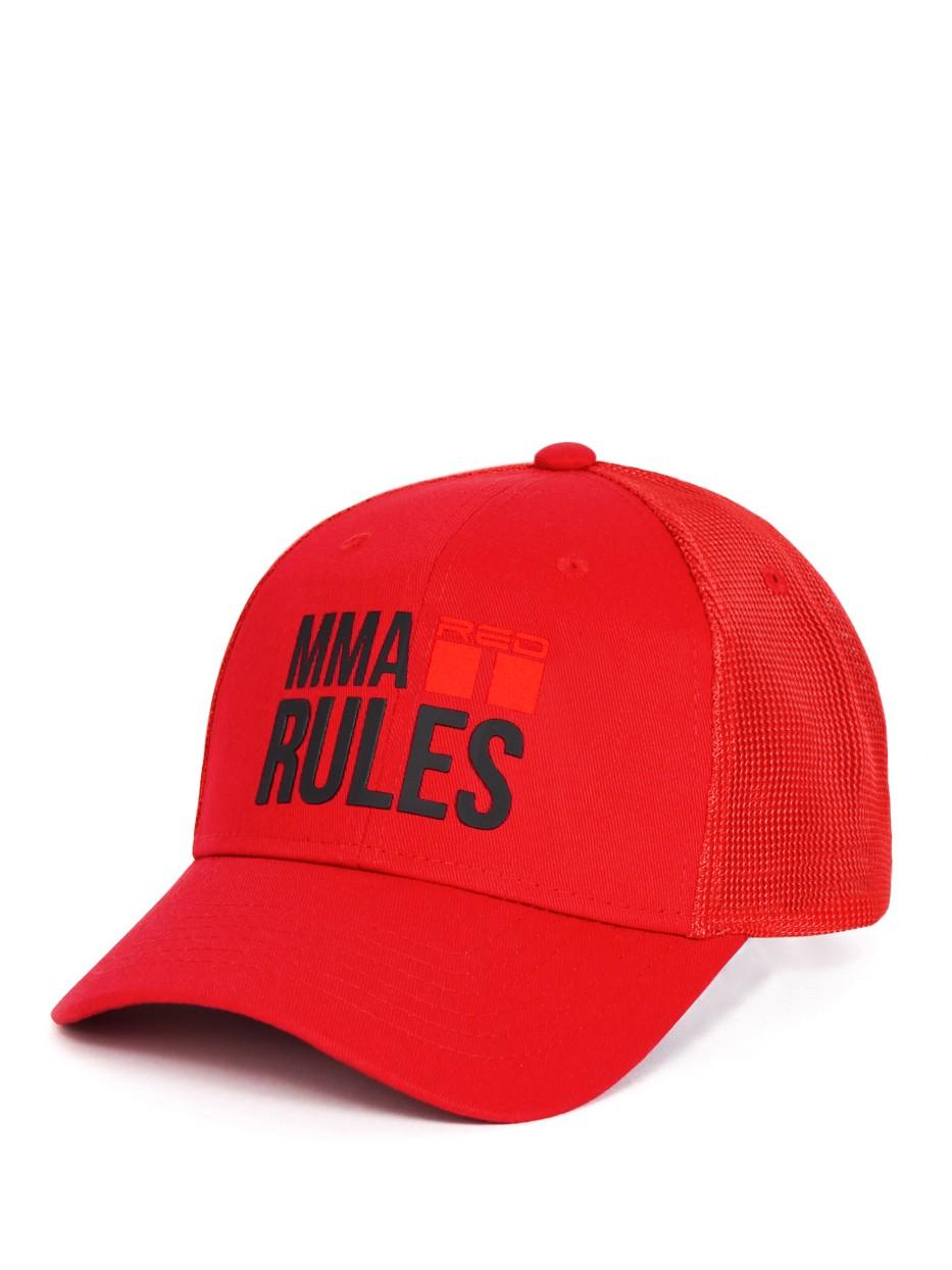 MMA RULES Red/Black Cap