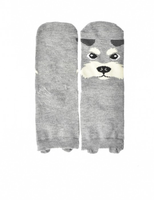 KID Fun Socks Grey Angry Dog