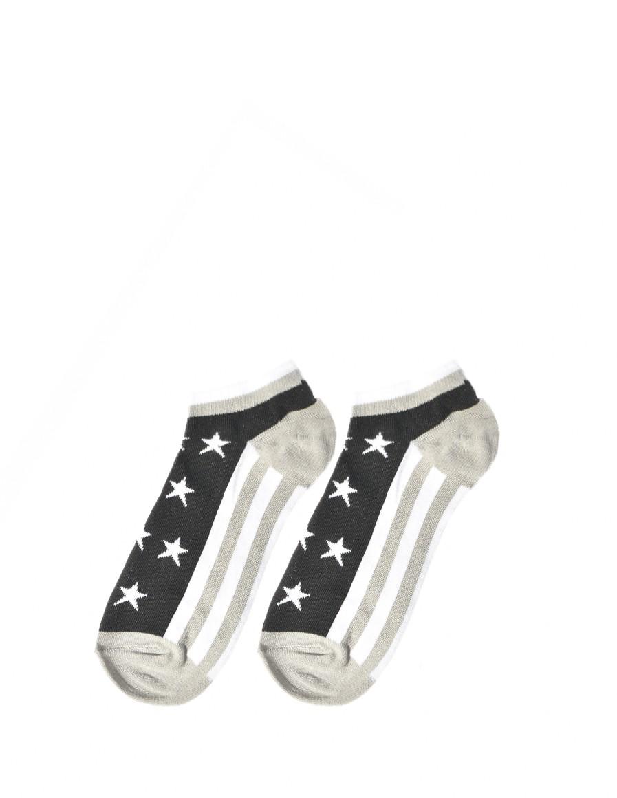 Men's FUN Low Cut Socks Stars Grey