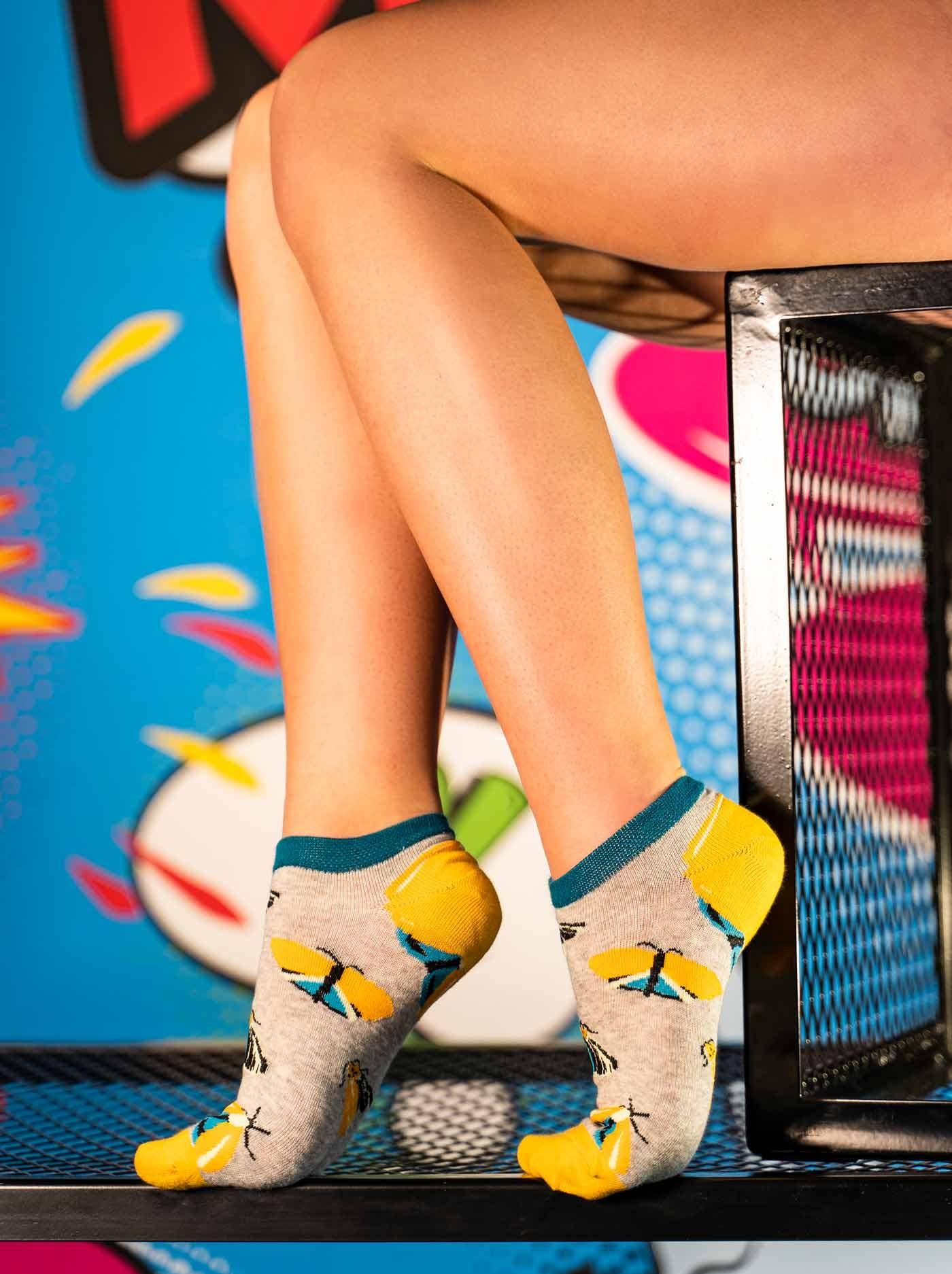 Women's Low Cut FUN Socks Night Butterfly