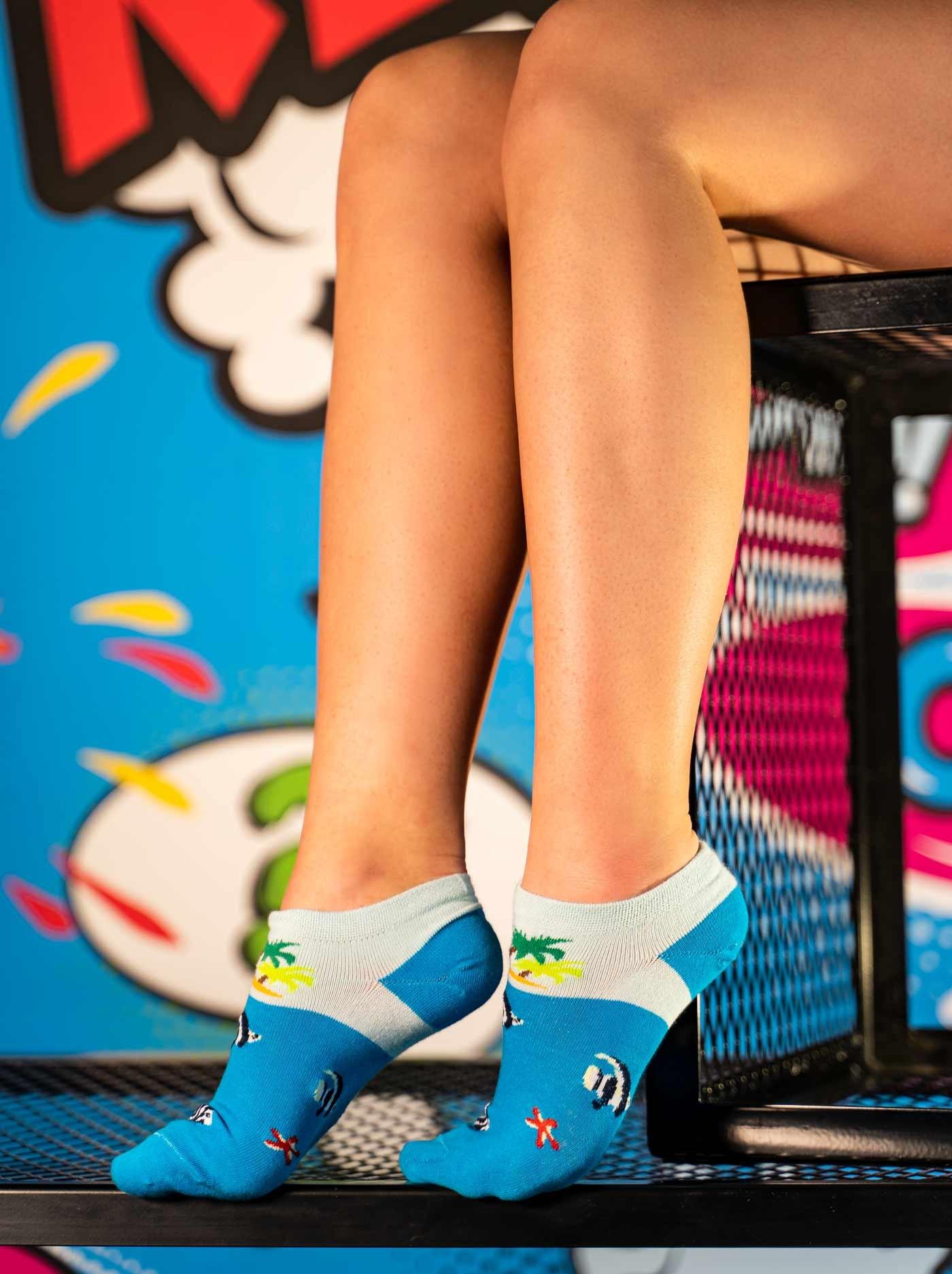 Women's Low Cut FUN Socks Blue Sea