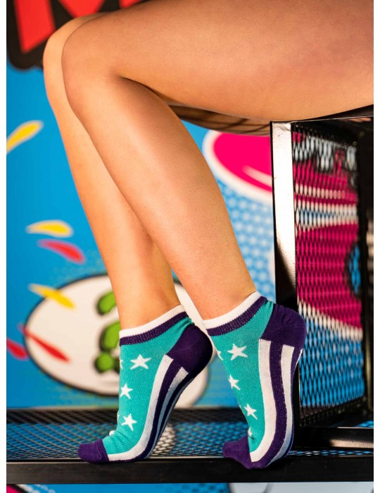 Women's Low Cut FUN Socks Stars Blue